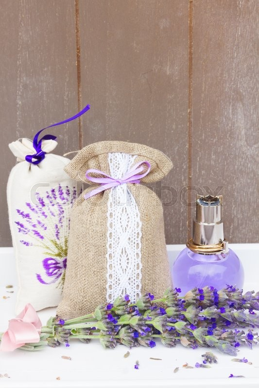 Stock image of 'Lavender herbal  water, fresh flowers and dry in pouch'