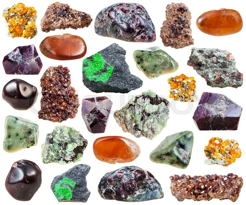 Stock image of 'set of various garnets natural mineral stones, crystals and gemstones isolated on white background'