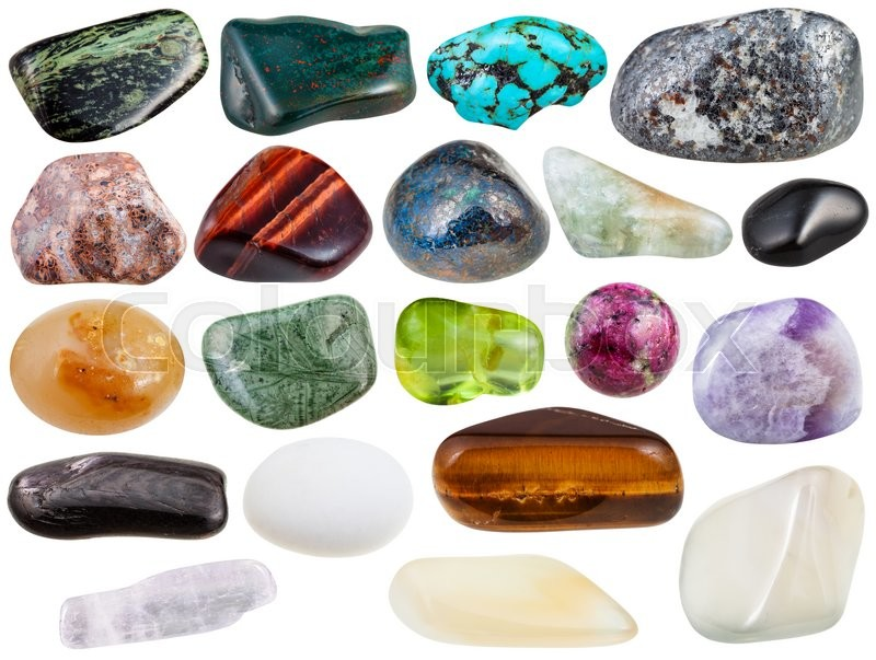 Stock image of 'set of various polished natural mineral stones and gemstones - azurite, chessylite, moonstone, agate, hypersthene, cacholong, tigers eye, tinguaite, peridot, etc isolated on white background'