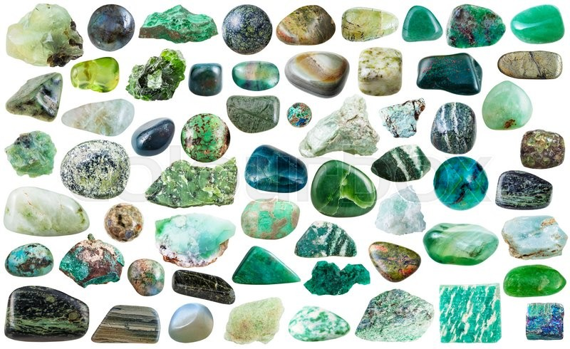 Stock image of 'set of green natural mineral stones and gems isolated on white background'