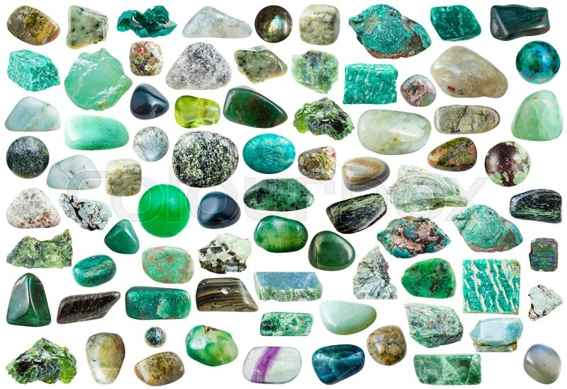Stock image of 'set of green mineral stones, crystals and gemstones isolated on white background'