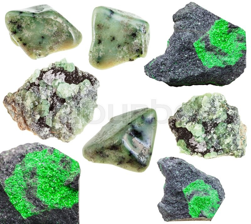 Stock image of 'set of various green garnets (grossular, demantoid, uvarovite) natural mineral stones, crystals and gemstones isolated on white background'