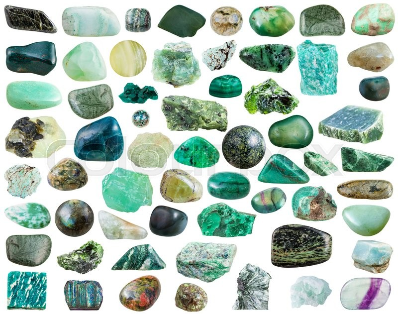 Stock image of 'set of green natural mineral stones and gemstones isolated on white background'