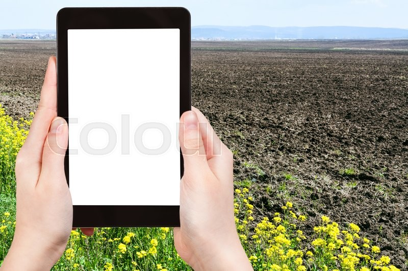 Stock image of 'gardening concept - farmer photographs plowed country field and yellow flowers of rapeseed in spring on tablet pc with cut out screen with blank place for advertising'