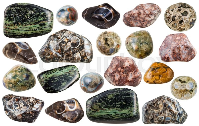 Stock image of 'set of various Madagascar jasper natural mineral stones and gemstones isolated on white background'