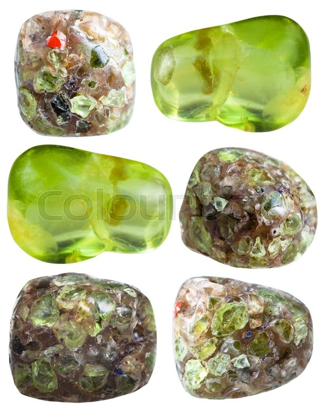 Stock image of 'set of various peridot (olivine, chrysolite) natural mineral stones and gemstones isolated on white background'
