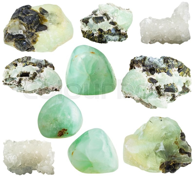Stock image of 'set of various prehnite natural mineral stones and gemstones isolated on white background'