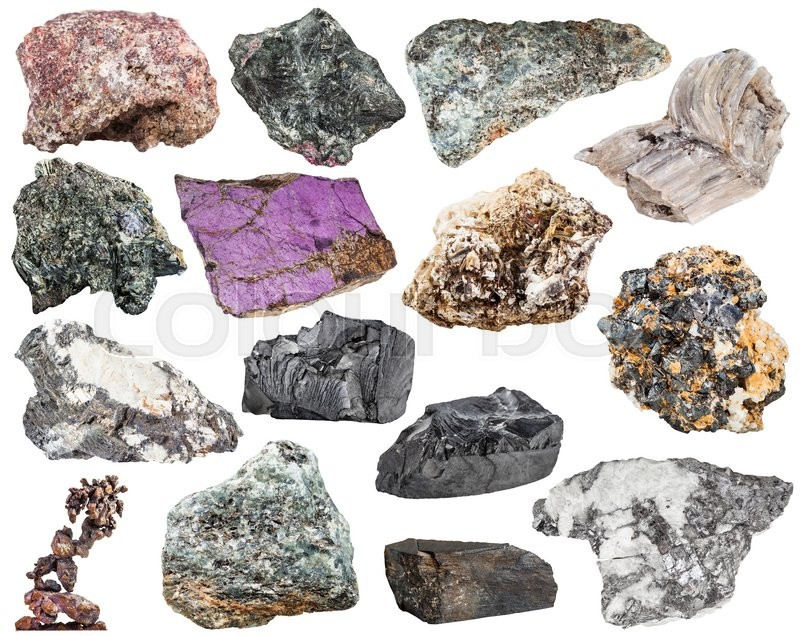 Stock image of 'set of various natural mineral stones and rocks - baryte, barite, bismuthinite, bismuth, molybdenite, glaucophane, jet, lignite, shungite, shungit, nepheline, galena, etc isolated on white background'
