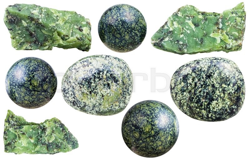 Stock image of 'set of various serpentine natural mineral stones and gemstones isolated on white background'