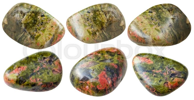 Stock image of 'set of various unakite natural mineral stones and gemstones isolated on white background'