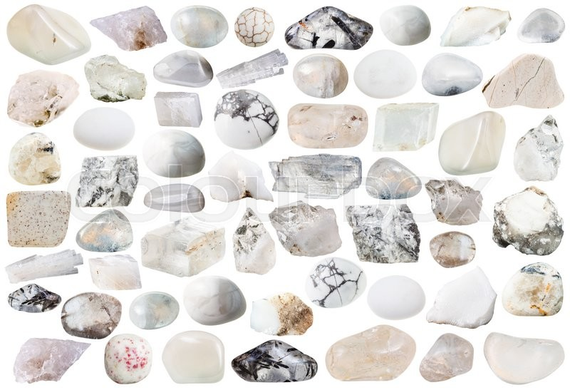 Stock image of 'set of white and transparent natural mineral stones and gemstones isolated on white background'