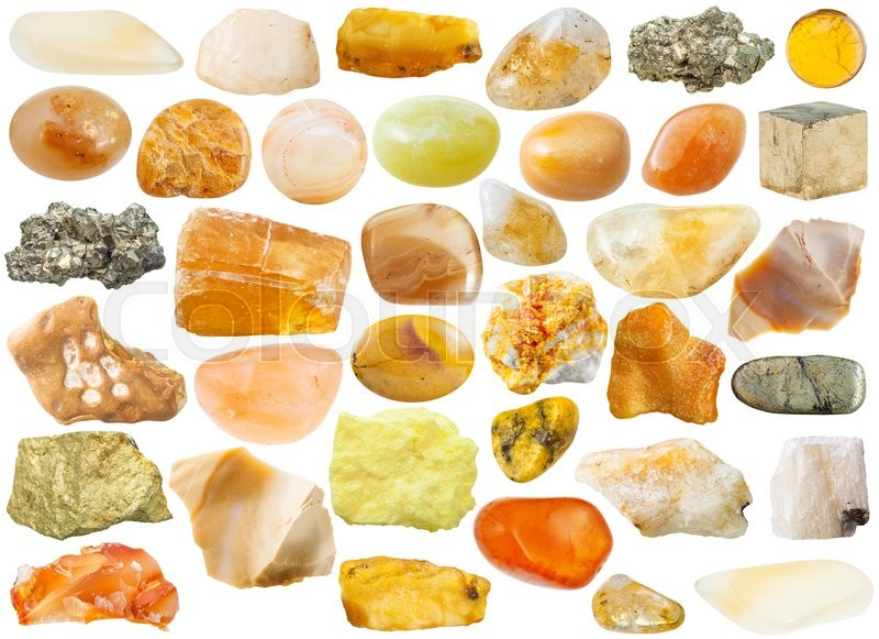 Stock image of 'set of yellow and orange natural mineral stones and gemstones isolated on white background'