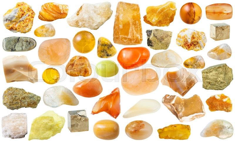 Stock image of 'set of yellow natural mineral stones and gemstones isolated on white background'