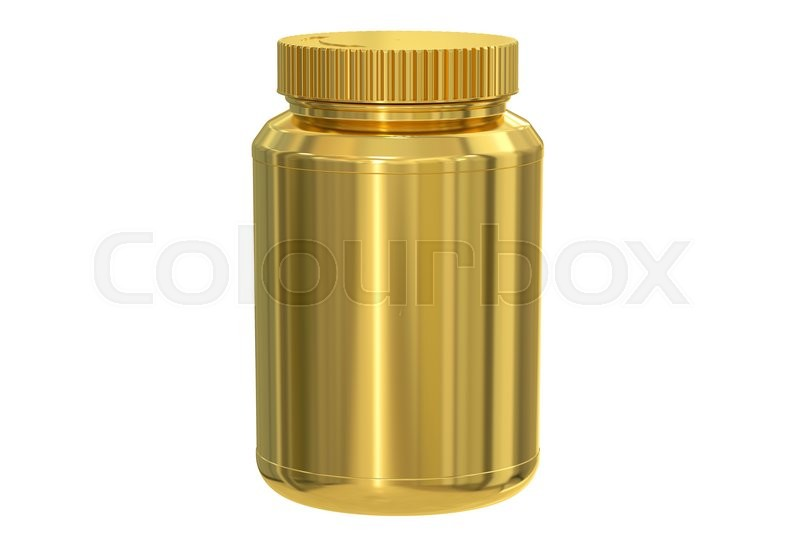 Stock image of 'blank golden jar, 3D rendering isolated on white background'