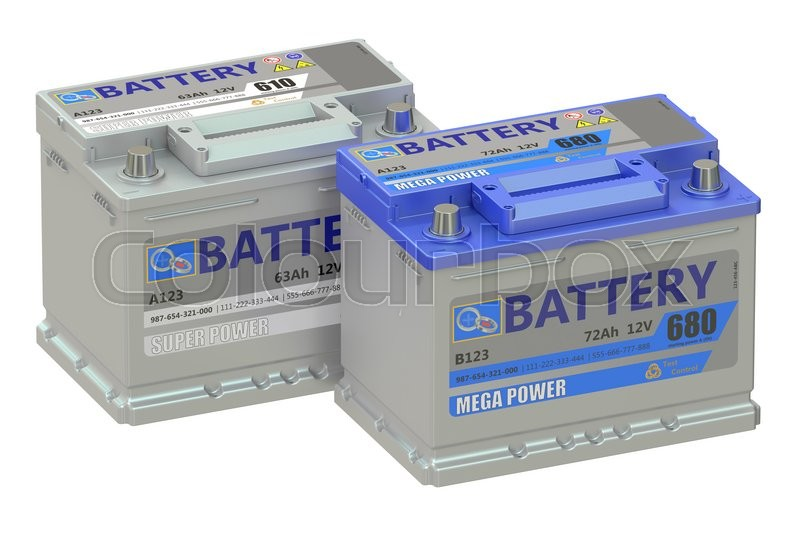 Stock image of 'batteries car, 3D rendering isolated on white background'