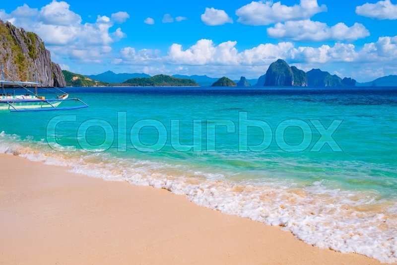 Stock image of 'Tropical landscape of sandy beach, Palawan, Philippines, Southeast Asia'