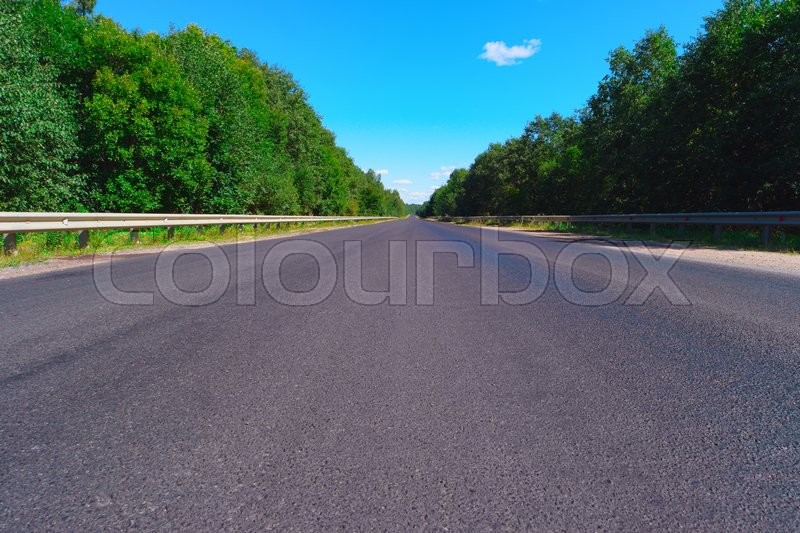 Stock image of 'Empty highway with green forest on both sides'