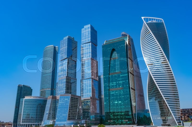 Stock image of 'Modern skyscrapers in Moscow city downtown, Russia'