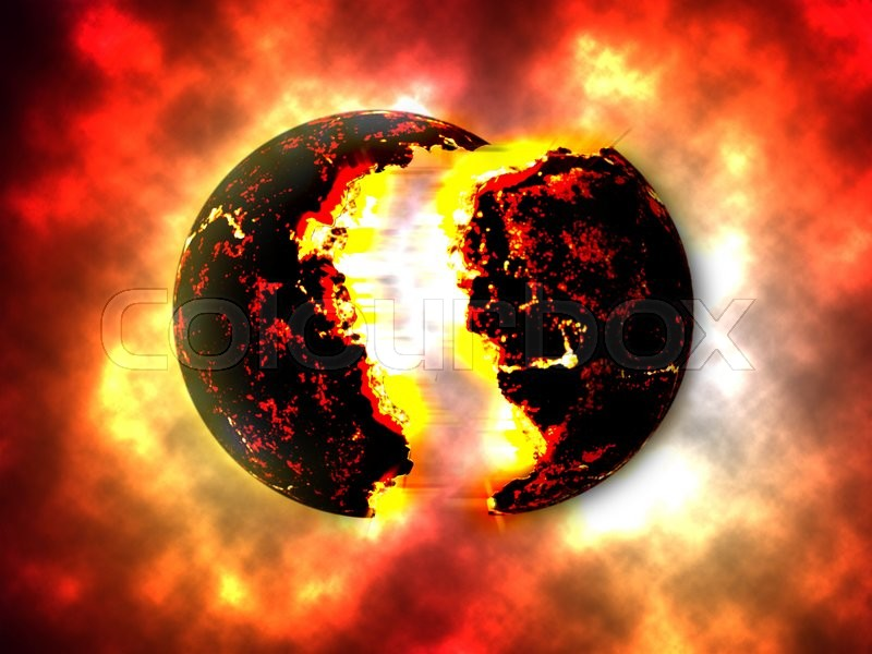Stock image of 'A large bomb of Exploding Planet. Exploding Planettheory'