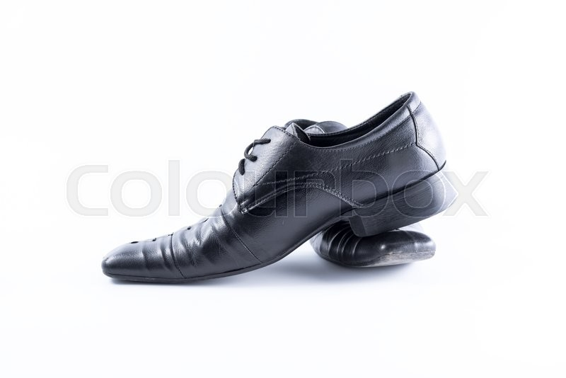Stock image of 'Black Mens shoes on white background'
