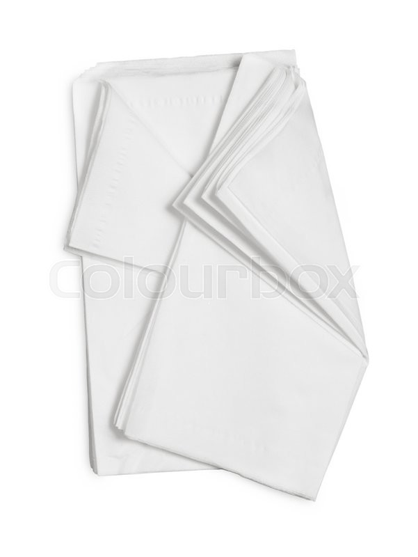 Stock image of 'White Paper Napkins Isolated on White Background.'