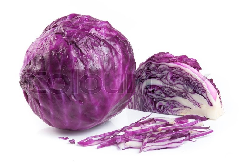 Stock image of 'Red cabbage isolated on white background'