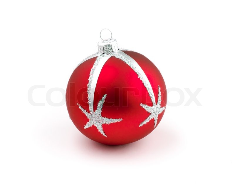 Christmas tree decoration red ball isolated stock photo