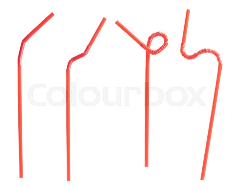 Stock image of 'Red drinking straw isolated on white background'
