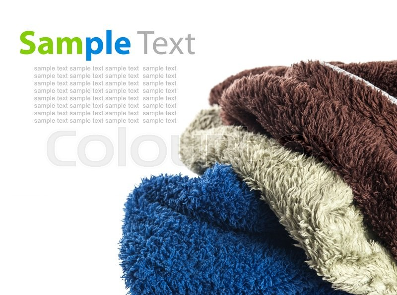 Stock image of 'Colorful microfiber cleaning on white background,Text Space'