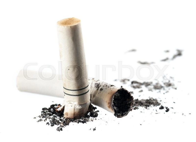 Stock image of 'Cigarette butt isolated on white background.'