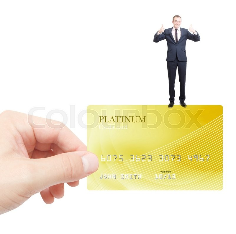 Stock image of 'Holding credit card with businessman'