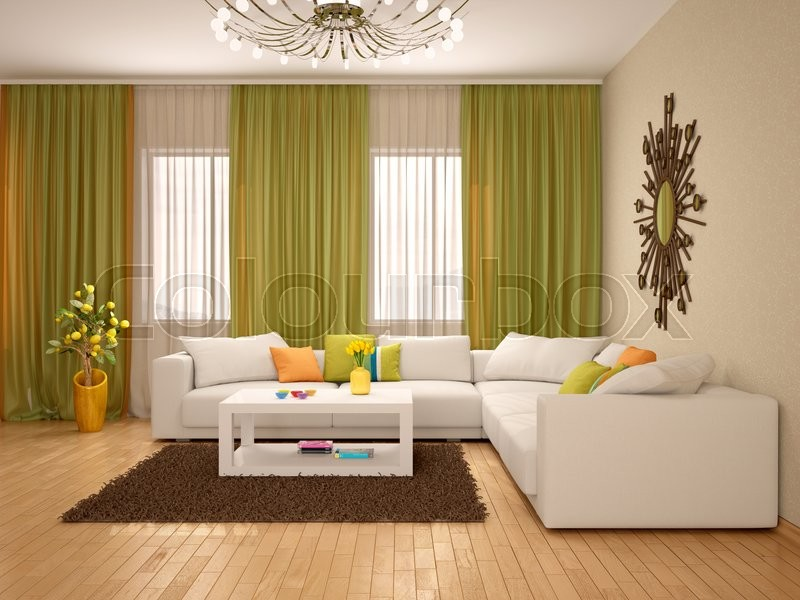 Stock image of '3d illustration of Interior of modern living room warm colors'