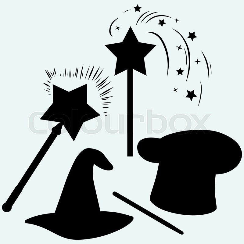 Set magic hat with magic wand sparkles. Isolated on blue ...