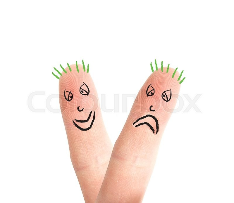 Stock image of 'Happy and sad fingers on white'