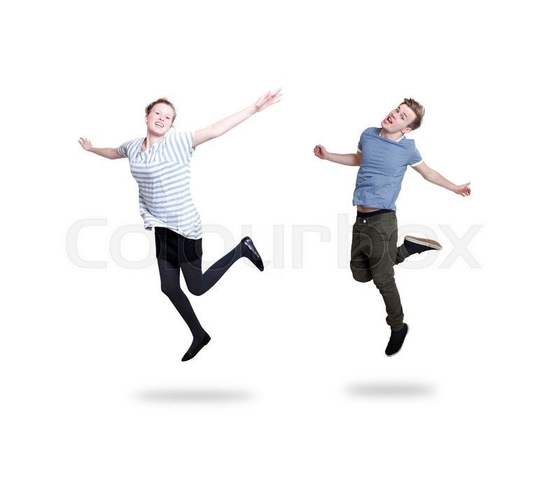 Stock image of 'Couple jumping on white'