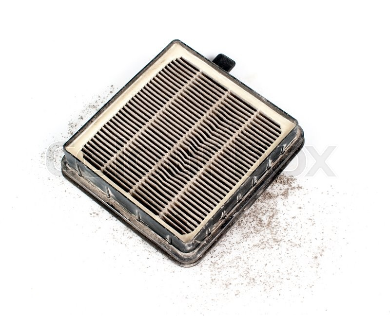 Stock image of 'Dirty used cabin air conditioner filter isolated on white background'