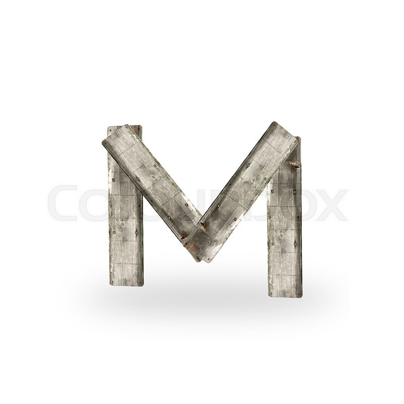 Stock image of 'Wooden letter M on white'