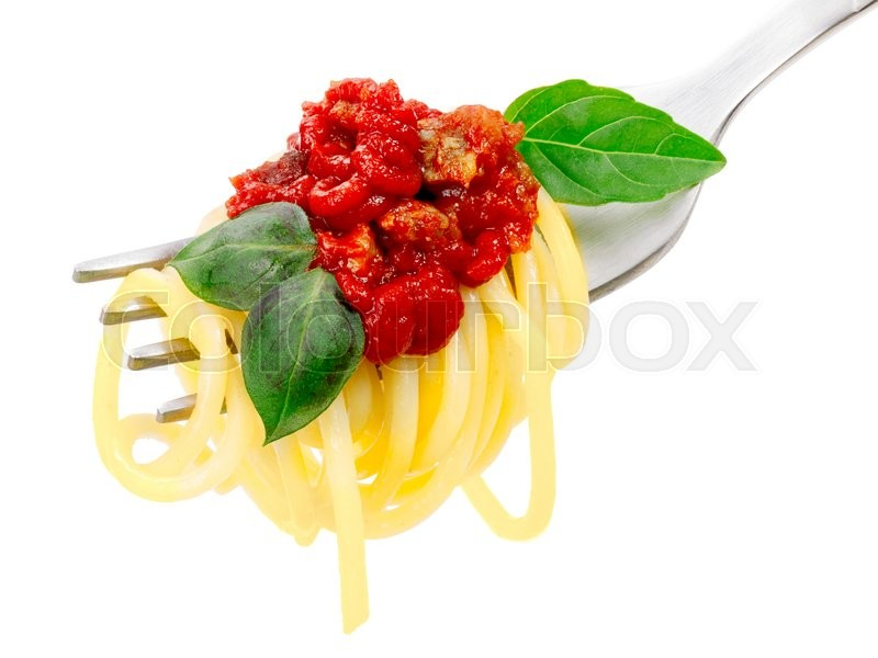 Stock image of 'Spaghetti with tomato sauce and basil leaves on a fork. Infinite depth of field, clipping path'