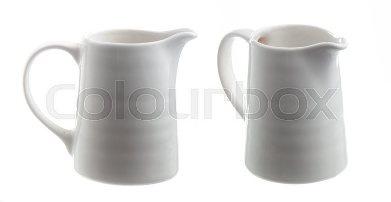 Stock image of 'White ceramic milk pot on a white background'
