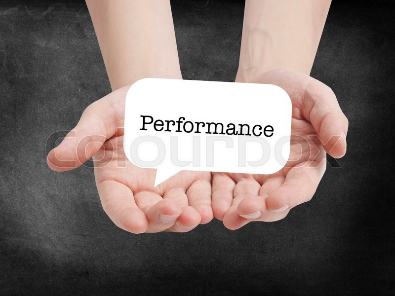 Stock image of 'Performance written on a speechbubble'