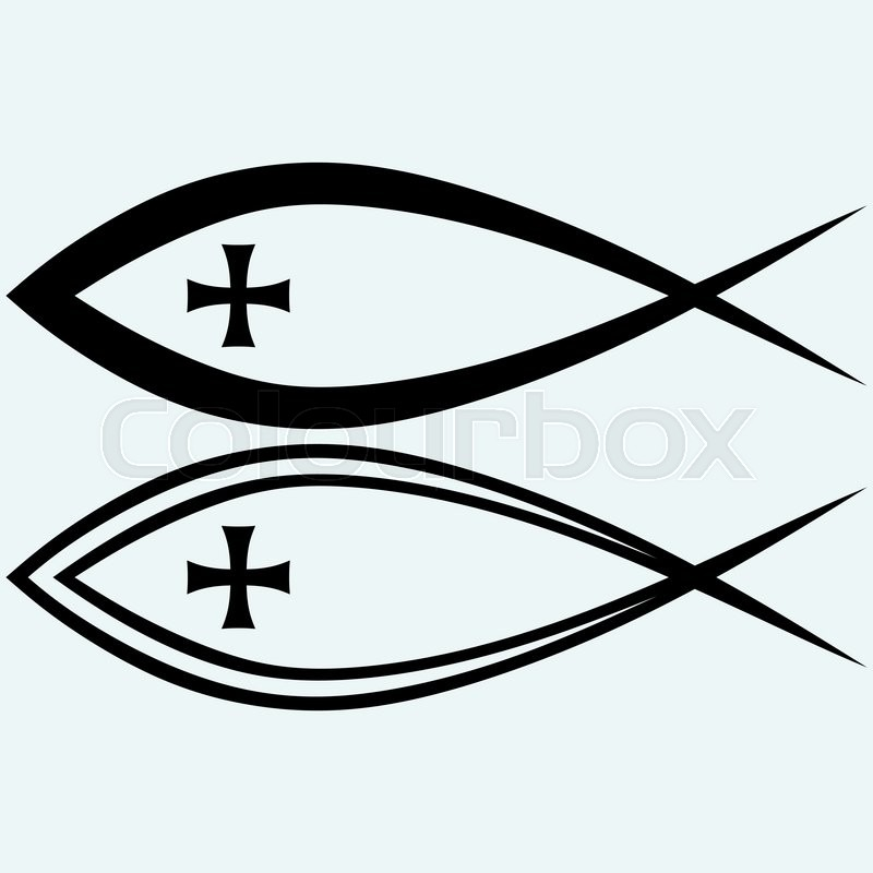 Christian Fish Symbol With Cross Isolated On Blue Background