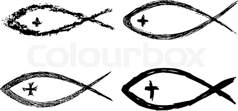 Christian Fish Symbol With Cross Vector Stock Vector Colourbox
