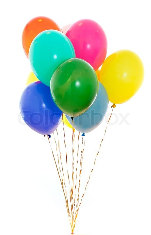 colourful balloons bunch filled with helium isolated on white stock photo colourbox Happy Birthday Animations Free Download happy belated birthday free animated clipart