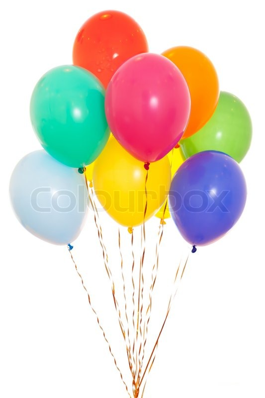 Image of 'colourful balloons bunch filled with helium isolated on
