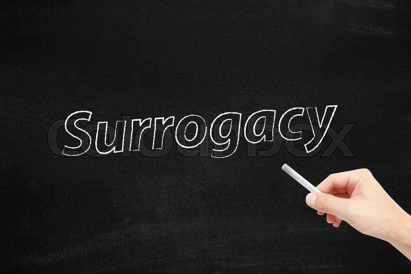 Stock image of 'Surrogacy written on blackboard'