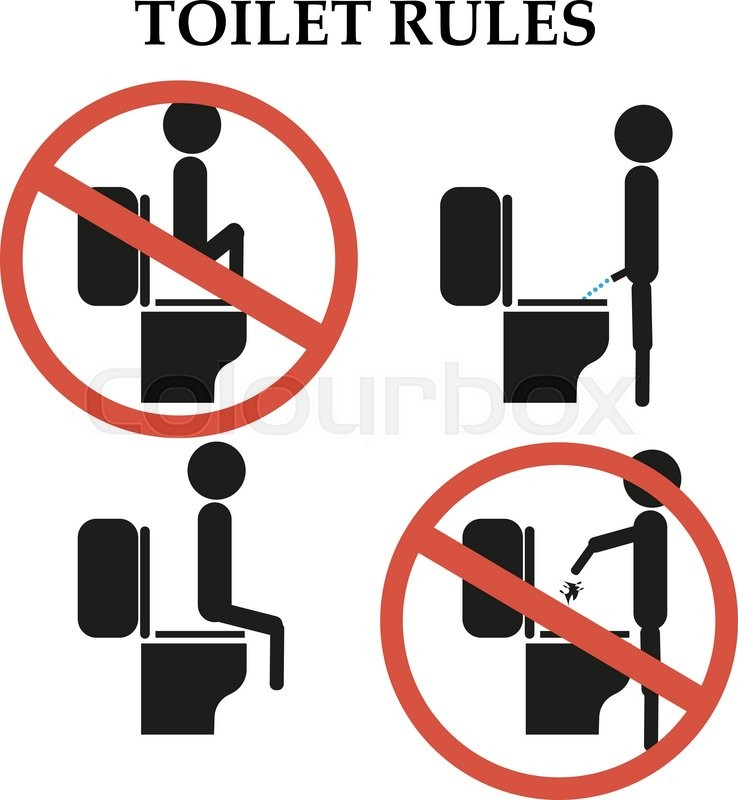 Toilet Rules Do Not Step On The Toilet Sign Stock