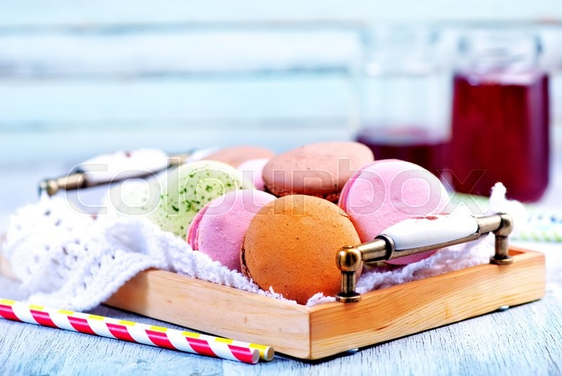 Stock image of 'cookies on a table, color macaroons on a table'