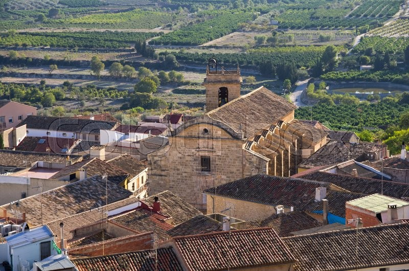 Stock image of 'Top view on mountain town Montesa, province of Alicante, Spain'