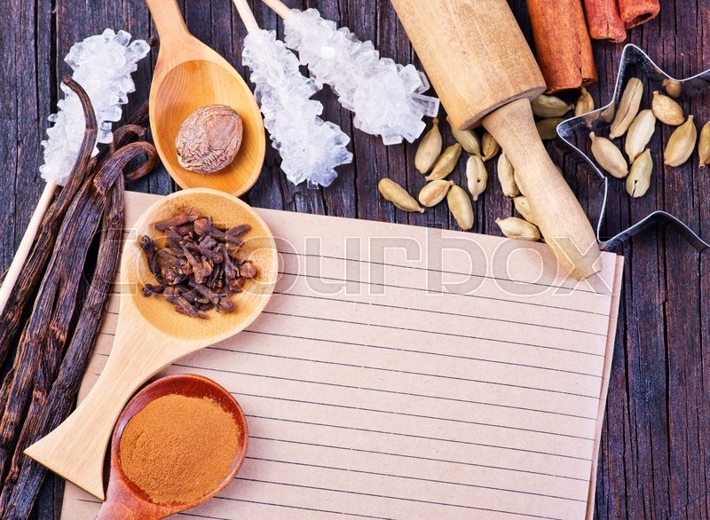 Stock image of 'spice for baking on a the wooden table'
