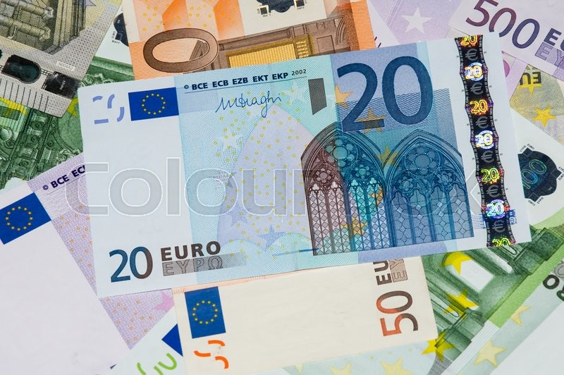 Stock image of 'Scattered euro currency banknotes, closeup view'